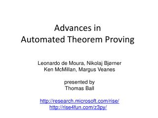 Advances in  Automated Theorem Proving
