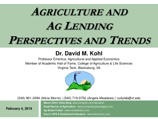 Agriculture and Ag Lending Perspectives and Trends