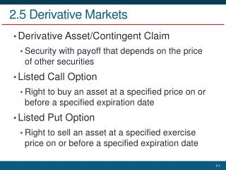 2.5 Derivative Markets