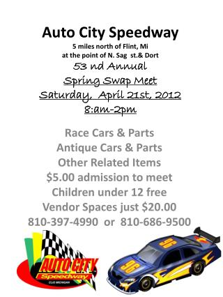 Race Cars & Parts  Antique Cars & Parts Other Related Items $5.00 admission to meet