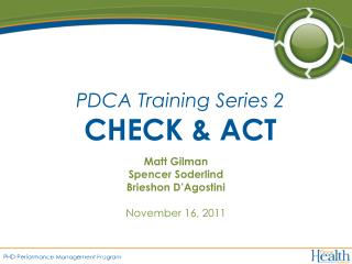 PDCA Training Series 2 CHECK & ACT
