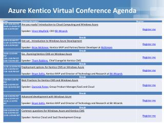 Azure Kentico Virtual Conference Agenda