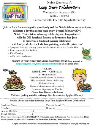 Noble  Elementary's Leap Year Celebration Wednesday February 29th 6:00  –  8:00PM