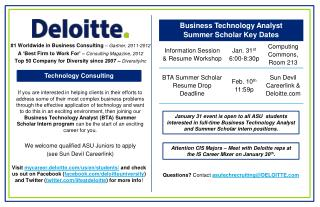 Questions ?  Contact  asutechrecruiting@DELOITTE