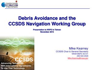 Debris Avoidance and the CCSDS Navigation Working Group Presentation to NSPO in Taiwan