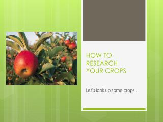 HOW TO RESEARCH  YOUR CROPS