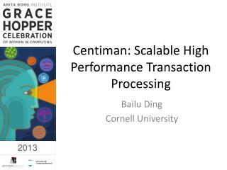 Centiman : Scalable High Performance Transaction Processing