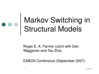 Markov Switching in Structural Models