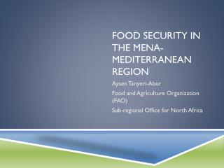 Food security in the MENA-Mediterranean  REGION