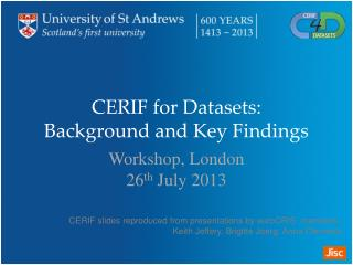 CERIF for Datasets: Background and Key Findings