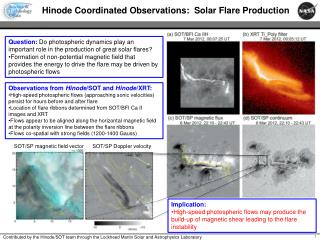 Hinode Coordinated Observations:   Solar Flare Production