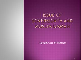 Issue of Sovereignty and Muslim  Ummah