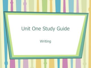 Unit One Study Guide