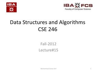 Data Structures and Algorithms CSE 246