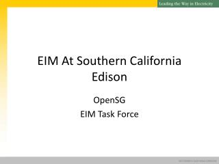 EIM At Southern California Edison