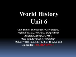 World History Unit 6