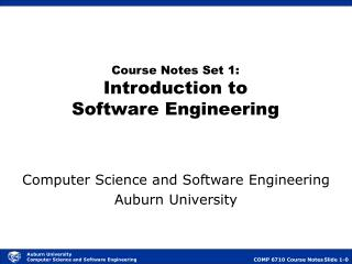 Course Notes Set 1: Introduction to Software Engineering