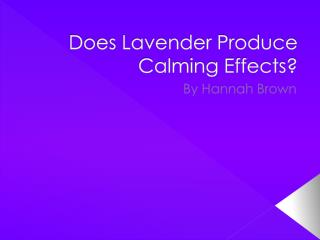 Does Lavender Produce Calming Effects?