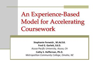An Experience-Based Model for Accelerating Coursework