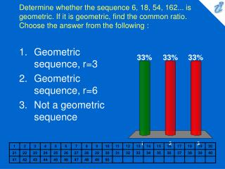 Determine whether the sequence 6, 18, 54, 162... is geometric. If it is geometric, find the common ratio. Choose the ans