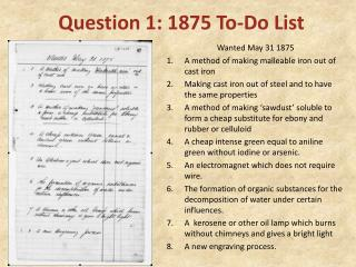 Question 1: 1875  To-Do List