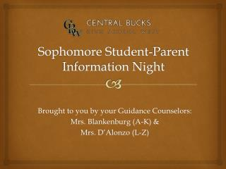 Sophomore Student-Parent  Information Night