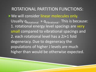 Rotational partition functions: