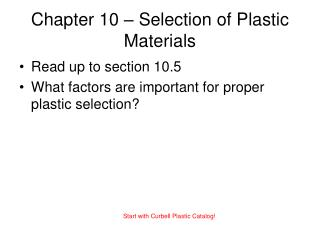 Chapter 10 – Selection of Plastic Materials