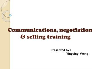 Communications, negotiation & selling training