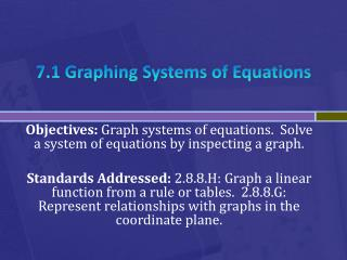 7.1 Graphing Systems of Equations