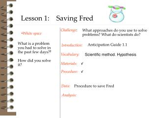 Procedure to save Fred