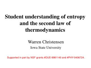 Student understanding of entropy and the second law of thermodynamics