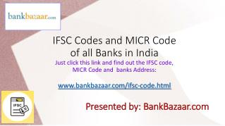 IFSC and MICR Code of all Banks