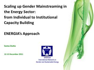 Scaling up Gender Mainstreaming in the Energy Sector: