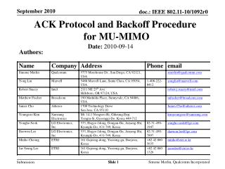 ACK Protocol and Backoff Procedure  for MU-MIMO