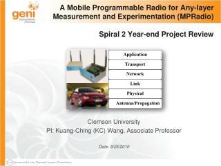 Clemson University PI: Kuang-Ching (KC) Wang, Associate Professor Date: 8/25/2010