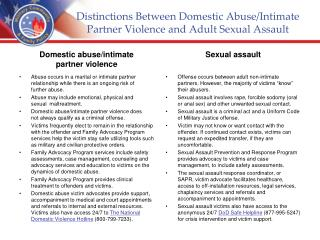 Distinctions Between Domestic Abuse/Intimate Partner Violence and  Adult  Sexual Assault