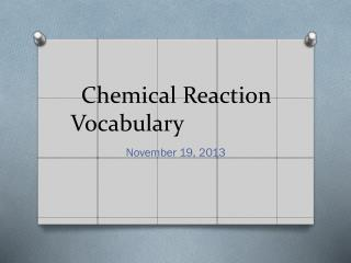 Chemical Reaction Vocabulary