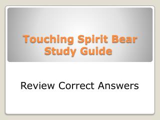 Touching Spirit Bear Study Guide