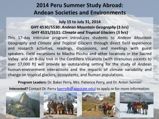 2014 Peru Summer Study Abroad:  Andean  Societies and Environments