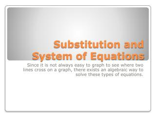 Substitution and System of Equations