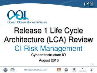 Release 1 Life Cycle Architecture (LCA) Review CI Risk  Management Cyberinfrastructure IO