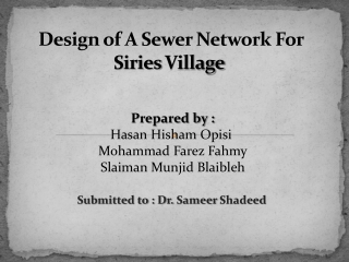 Design of A Sewer Network For Siries Village