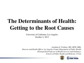 The Determinants of Health: Getting to the Root Causes
