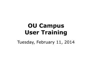OU Campus  User Training