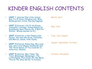 KINDER ENGLISH CONTENTS