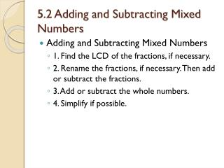 5.2 Adding and Subtracting Mixed Numbers