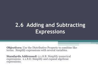 2.6  Adding and Subtracting Expressions