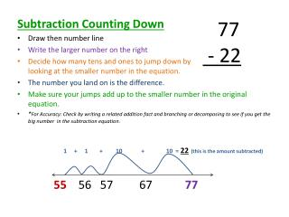 Subtraction Counting Down Draw then number line Write the larger number on the right