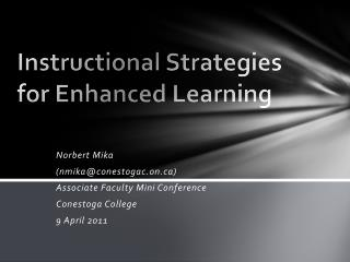 Instructional Strategies for Enhanced Learning
